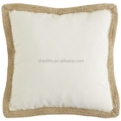 Plain PMS color natural linen pillow cover with braid sofa decorative custom cushion cover