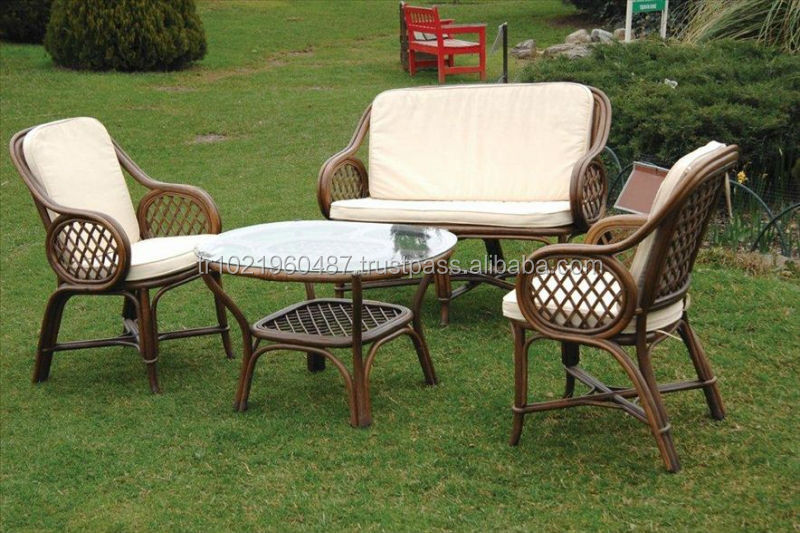 Patio Natural Bamboo Rattan Living Sets Wood Outdoor