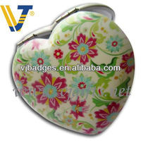 customized heart shape compact mirror for women gifts