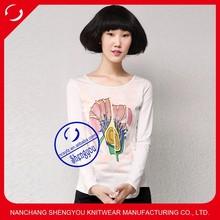 fashion design women long sleeve beaded t shirt factory price