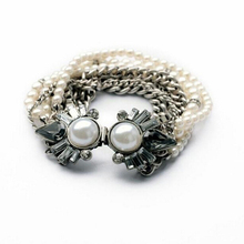 2015 Novelty multi strand metal chain and beaded pearl bracelet, hand jewelry for women