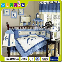 Applique and printed moon and star baby crib bedding sets