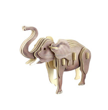 Elephant coated colorful paper 3D wooden puzzle toy