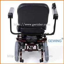 Gewing electric invalid seat provides swing away joy stick