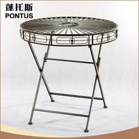 Hot sale 71*71*69.5cm PONTUS antique iron portable folding table