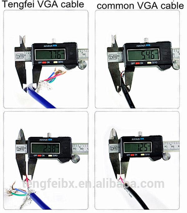 China Manufacturering 20 Meters 15pin Scart Dvi Thin Flat Rgb Rs232