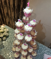 6 Tier Round Perspex Cupcake Stand;6 Tier 5mm Thick Clear Acrylic Round Maypole Cupcake Stand