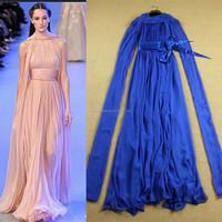 2015 Runway Top Fashion Designs Elegant Flowing Blue Women Silk Long Dress With Sashes