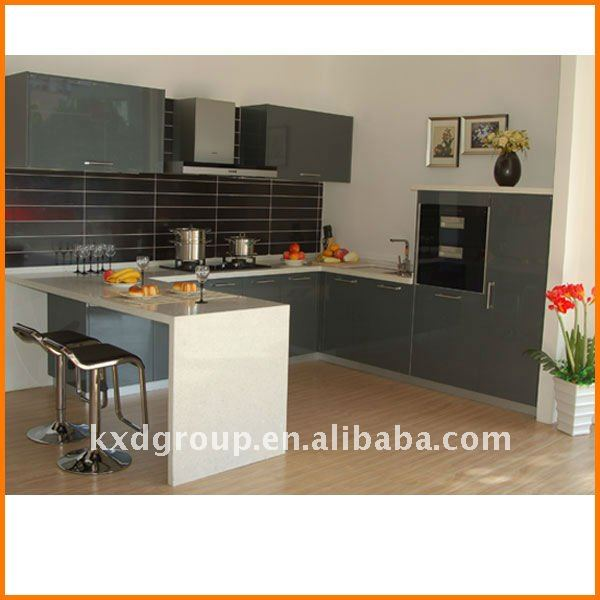 Gray Lacquer Kitchen Cabinets