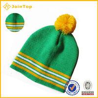 2015 Latest wholesale free pom beanie knitted beanie hat