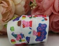 cartoon birthday party pink pigs printed grosgrain ribbon