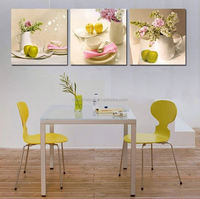 2015 New 3 Panels kitchen fruit Decoration flowers Canvas Abstract Painting on Wall Hanging Combinative Picture, Free Shipping