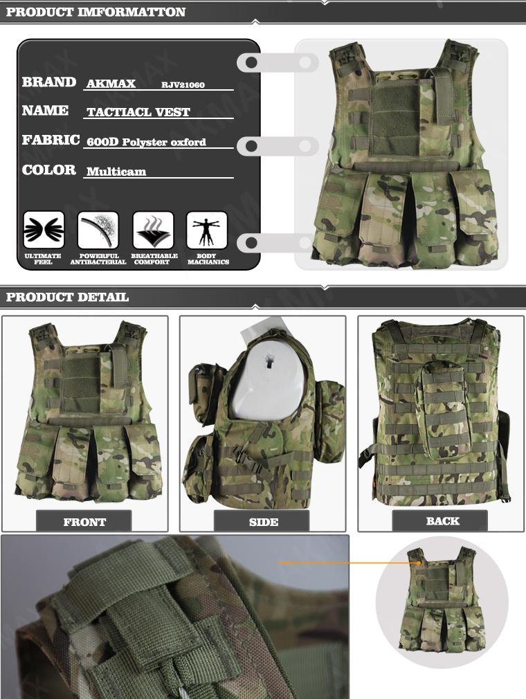 Multicam Camo Military Multi Pocket Vest Army Tactical Vest