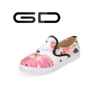 GD fashion elegant flowers pattern high quality printing leather casual flat shoes for women