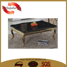 long elephant leg table black marblewith golden stainless steel legs coffee table