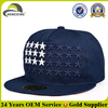 Navy blue acrylic 5 panel flat brim material for snapback cap