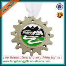 Factory direct custom silver sport medal with ribbon drape