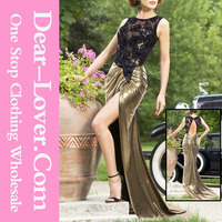 Ladies New Long Sheer Lace Top Luxe Gold Shimmer Party Evening Dresses