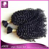 100% unprocessed Euroasian human hair Best selling Jerry curl Hair Bulk 10inch-30inch lengths natural black hair bulk