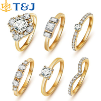 2016 new Hot Sale Fashion brand The engagement jewelry crystal wedding gold/silver ring set for women/