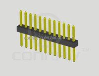 Single row straight gold-plated pin header 1mm pitch