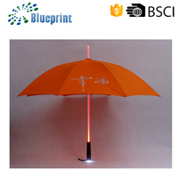 Promotional Souvenirs Torch Manual Open LED Umbrella Frame Red