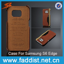 Card slot Leather cheap cell phone case for s6 edge