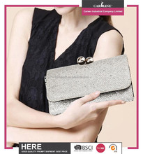 New arrival elegant silver clutch purse with metal closure