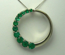 "1.50tcw Colombian Emerald ""Journey"" Pendant 14k White Gold"
