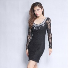Guangzhou clothing round neckline black long sleeve slinky casual dress with accessory