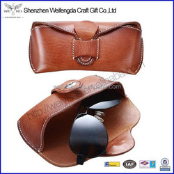 Factory Genuine Leather and Handmade Hard Leather Sun Glasses Case