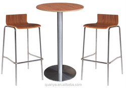 modern round bent wood top bar table sets with high bar chairs