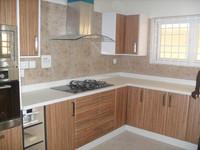 European style PVC kitchen cabinets wood grain finish