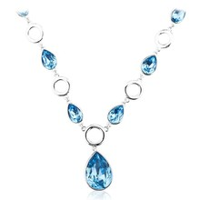 OUXI Drop crystal pendant necklace,silver jewelry necklace crystals from Swarovski Y10044