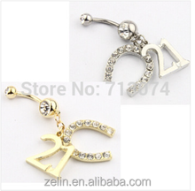 Body piercing ornaments fake curved belly button rings gem jeweled free belly button rings