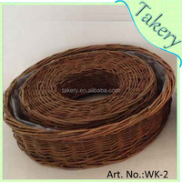 Factory wholesale round willow/wicker basket garden basket for planting