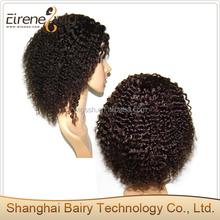 8 inch short hair afro kinky curl full thin skin wig in Brazilian remy hair afro curl fashion lace wig