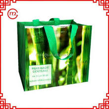 Foldable promotional environmental green pp woven shopping bag