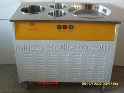 stainless steel double pan fried ice machine with dust cover