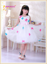 new sweet design white color with colorful flower kid dress ,children angel wing dress