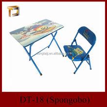 DT-18 Popular Carton Style Children Folding Wood Desk and chair set