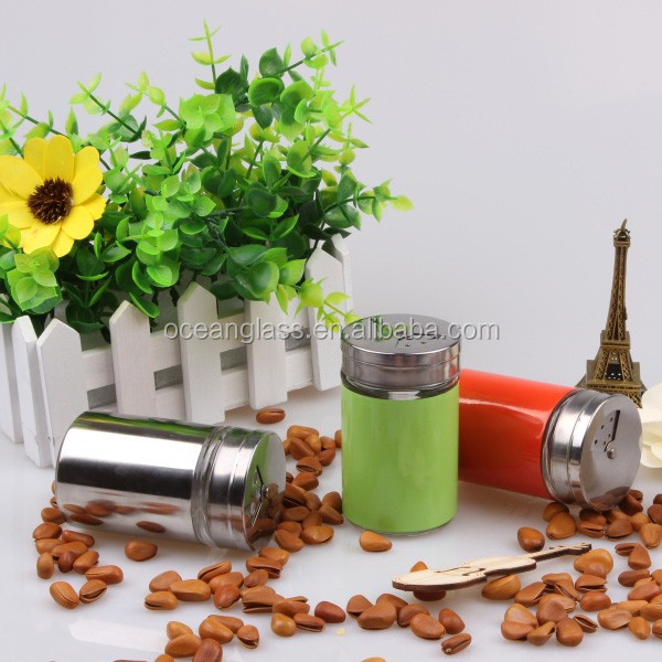 Glass Cruet With Grinder Cap Pepper Salt Bottles