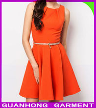 2014 Latest Fashion Trend Sleeveless Boat Neckline Orange Belted Dress Clothing