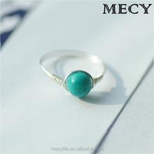 MECY LIFE 2015 hot selling high quality fresh charming S925 Sterling silver fashion Natural turquoise ring