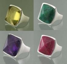 Venta al por mayor plata esterlina 925 anillo Cuarzo Limón
