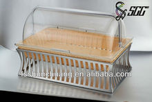 Handicraft Plastic Woven Bread Basket/Case/ Storage Box with Stainless Steel Stand
