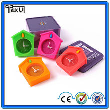 House shape silicone alarm desktop clock/colorful mini clock silicone material/ gift silicone alarm clock