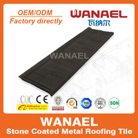 Wanael Shingle 1340x420mm anti-freezing stone chips coated steel roof tile/cheap roofing materials