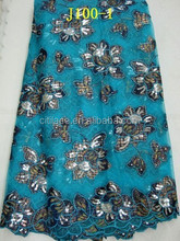 fashion design j100-1 turkeyblue color net french lace with velvet for african party