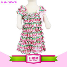 2015 New arrival! soft high quality christmas stain chevron baby dress new style
